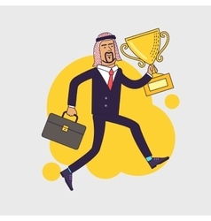 Celebrating arabic businessman holding winner cup vector