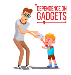 Children s gadget dependence father takes vector