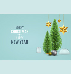 christmas background with pine fir tree vector image