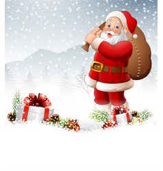 Christmas background with santa carrying bag vector