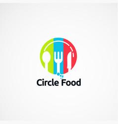 Circle food simple logo designs concept icon vector