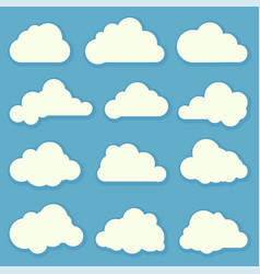 Clouds flat design elements set vector