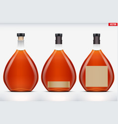 Cognac bottle set mockup vector
