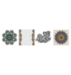 collection seamless ornamental floral stripes vector image