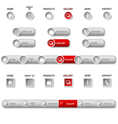 collection website navigation in silver design vector image