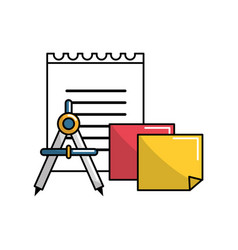 Color school tools icon vector