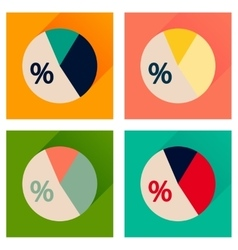 Concept of flat icons with long shadow percent vector