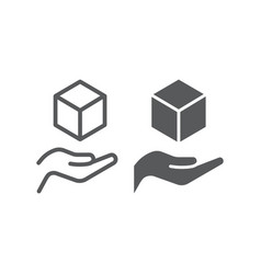 Cube in hands line and glyph icon arm and cube vector