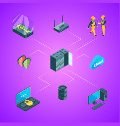 electronic data center icons infographic vector image