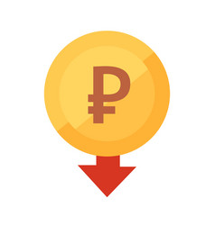 Falling rouble icon golden coin vector