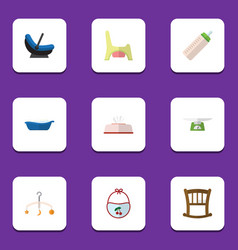 Flat icon child set of toilet pram children vector