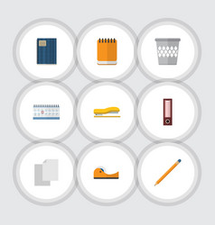 Flat icon equipment set of supplies copybook vector