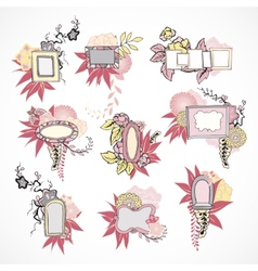 Floral decorative doodle frames set vector