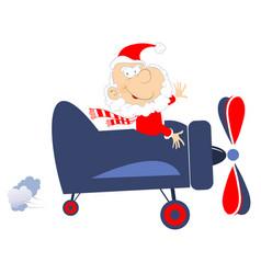 Funny pilot santa claus flies on the airplane illu vector