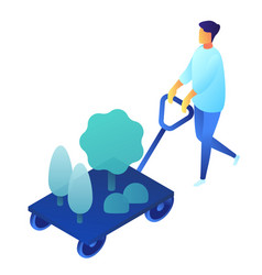 gardener with cart and plants isometric 3d vector image
