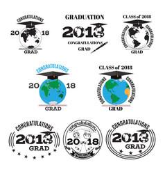 graduation 2018 flat emblem badge set vector image