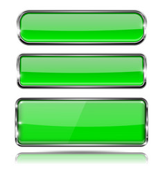 green glass 3d buttons with chrome frame oval and vector image