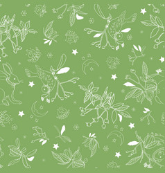 green pattern with rose plant and animals vector image
