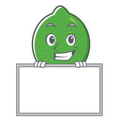 Grinning with board lime character cartoon style vector