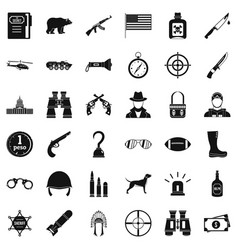 Gun icons set simple style vector