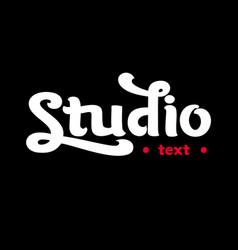 Handwritten modern brush lettering of studio on wh vector