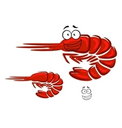 Happy cartoon red shrimp character vector image