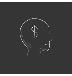 Head with dollar symbol Drawn in chalk icon vector