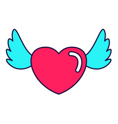 Heart love wings vector