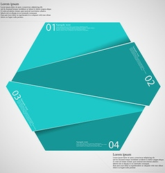 Hexagon infographic template divided to four blue vector