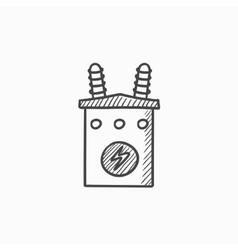 High voltage transformer sketch icon vector