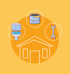 House building with home repair icons vector