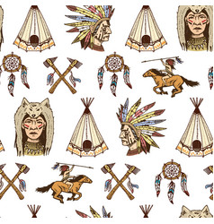 Indian or native american seamless pattern axes vector