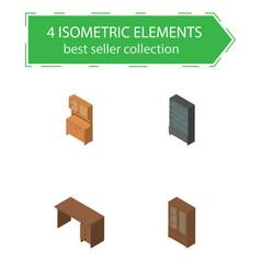 isometric design set of sideboard cupboard vector image