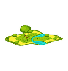 Landscape - field with a river tree bushes vector
