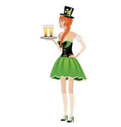 Leprechaun girl with beer2 vector image