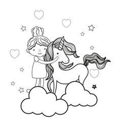 Line happy girl hugging cute unicorn vector