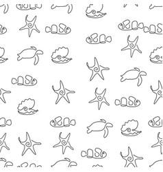 marine life animal pattern seamless vector image