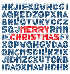 merry christmas pattern with set different vector image
