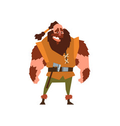 Muscular viking warrior character vector