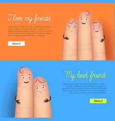 My best friend finger card set vector