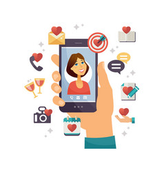 online dating app - modern colorful vector image