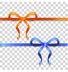 Orange and blue narrow ribbons with bright bows vector