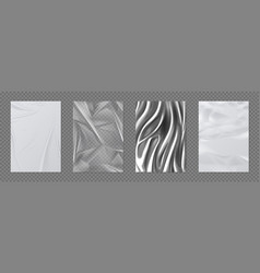 Paper and foil set crumpled white paper and vector