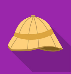 Pith helmet icon in flat style isolated on white vector