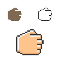 pixel icon fist in three variants fully vector image