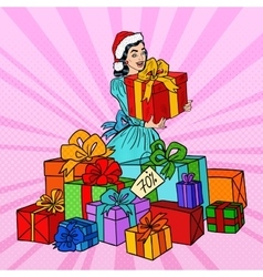 Pop Art Woman with Gift Boxes on Christmas Sale vector