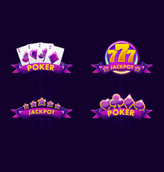 purple jackpot and poker emblem icons for lottery vector image