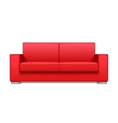 Red leather realistic sofa for modern living room vector