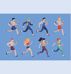 running people jogging men and women vector image