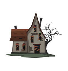scary abandoned house halloween haunted cottage vector image